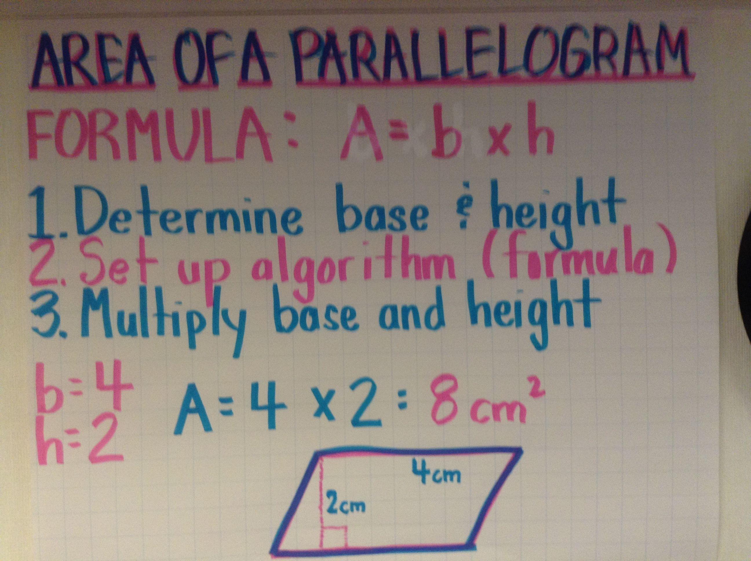 Area of a Parallelogram   Sixth grade math [ 1936 x 2592 Pixel ]