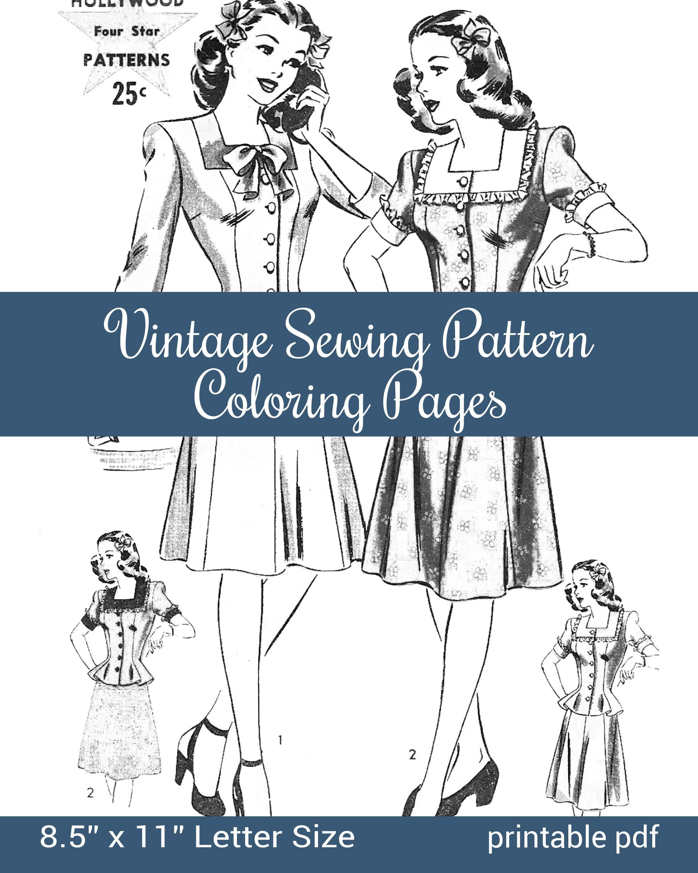 Coloring Pages Of Vintage Sewing Pattern Envelopes Pdf Download
