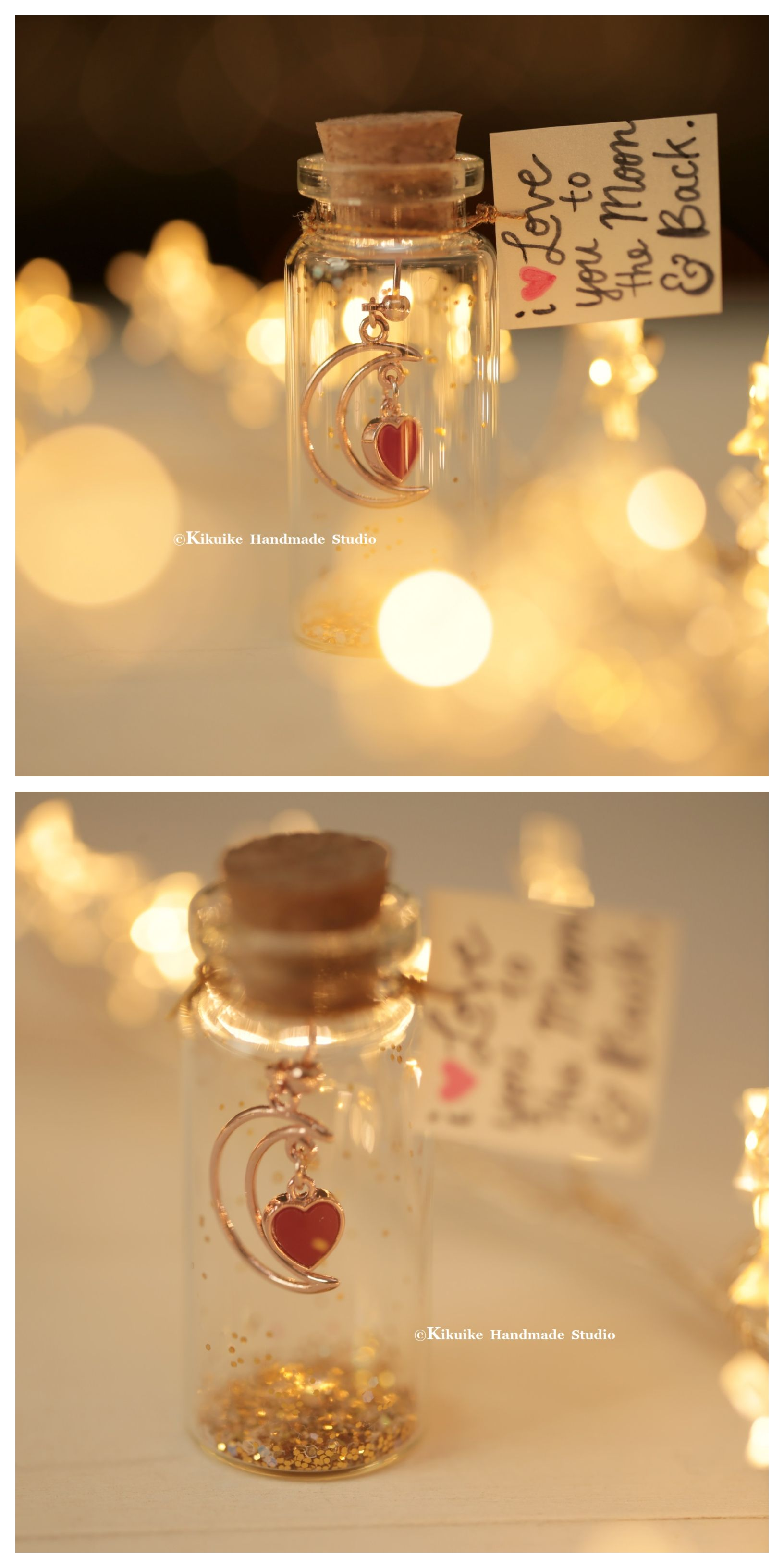 I Love You To The Moon Back Tiny Message In A Bottle Miniatures