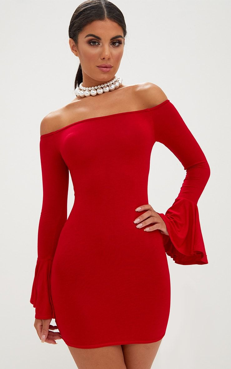 15dbbd50aeb Red Frill Sleeve Bardot Bodycon DressGirl look fiyahhh with this smokin   hot bodycon dress. Featu.