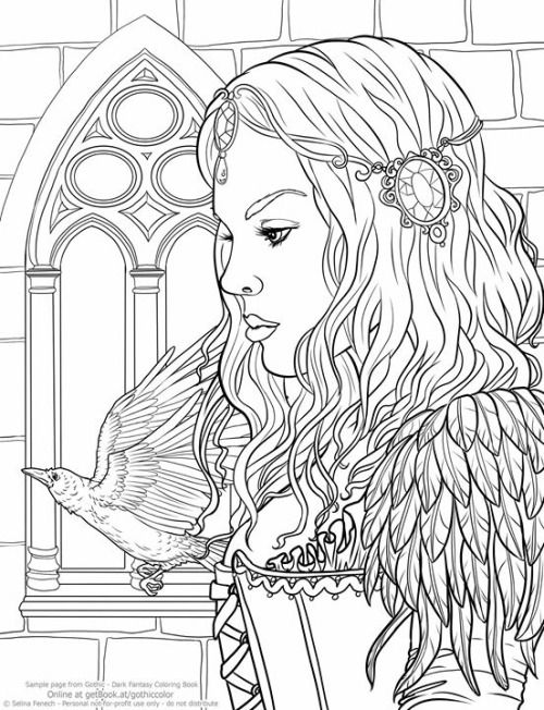 freebie coloring page from my new gothic coloring book this is a new artwork - Gothic Coloring Book