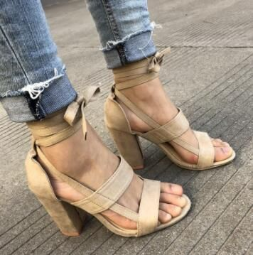 88369d6d762 Sandals High Heel Gladiator Cross-tied Lace-Up Casual Ankle Strap Pumps