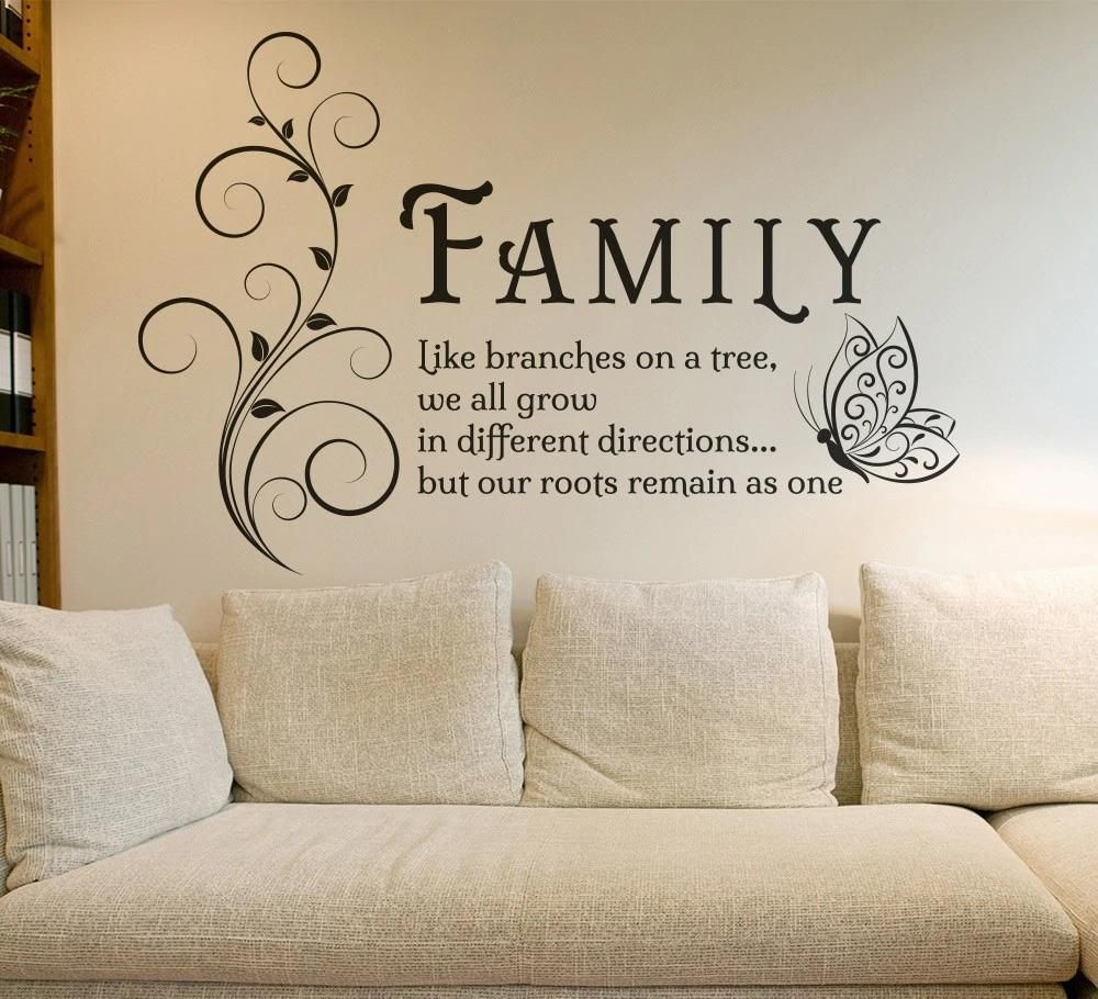 Inspirational Quotations For The Home Art Decals Vinyl Wall Stickers Removable Mural Wall Art Fo Family Tree Wall Art Wall Stickers Living Room Family Wall Art #wall #decor #quotes #for #living #room