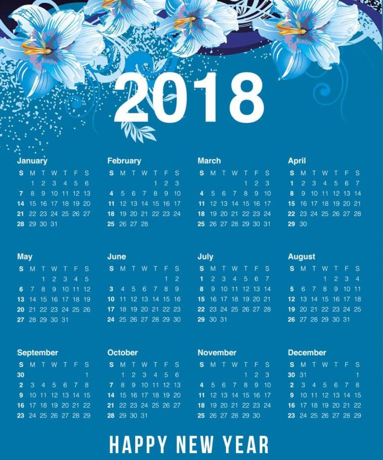 2018 Year Calendar Wallpaper Download Free 2018 Calendar By Month