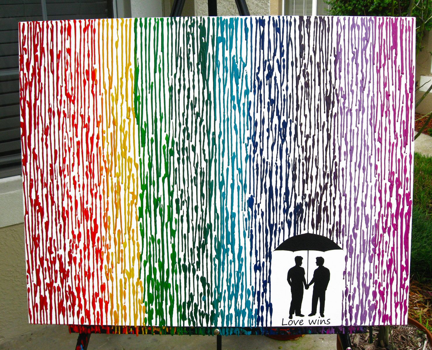 What To Get A Gay Couple For A Wedding Gift: Gay Pride Art, Love Wins, Gay Wedding Gift, 22x28 Rainbow