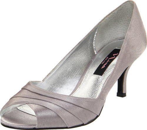 NINA NEW YORK Womens FORBES Royal Silver Peep Toe Pumps US 5M