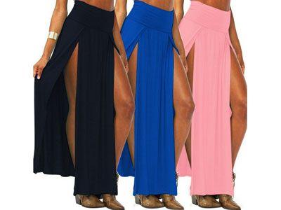 Falda larga con dos aberturas para mujer en varios colores  8e0ef82c2c1a