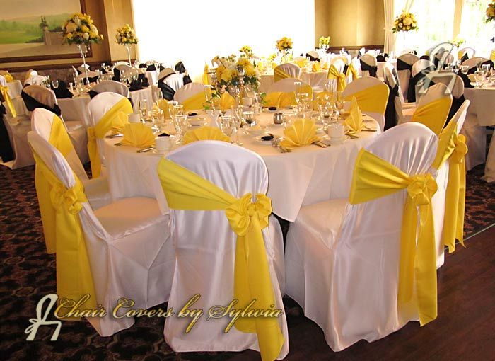 White table clothes white chair covers white napkins yellow white table clothes white chair covers white napkins yellow chair sashes check all already ordered our wedding pinterest white chair covers junglespirit Gallery