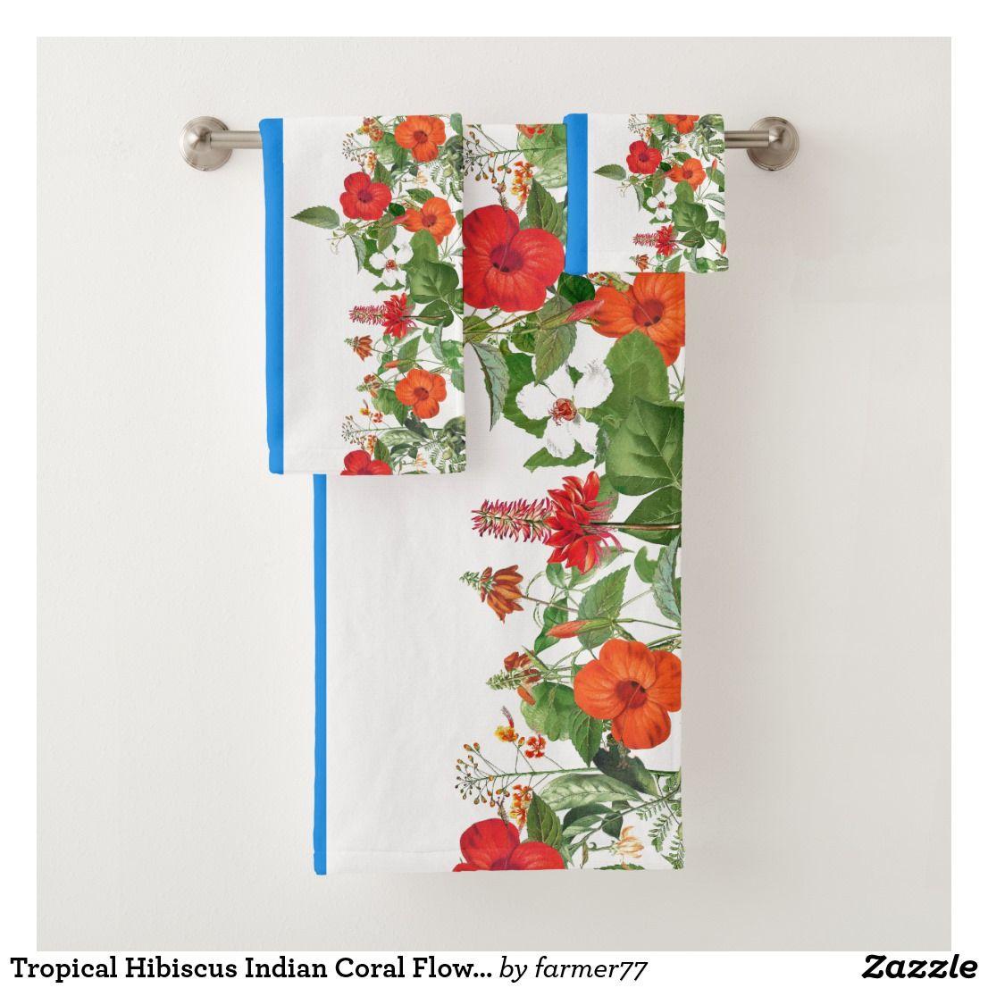Tropical Hibiscus Indian Coral Flowers Bath Towel Zazzle Com