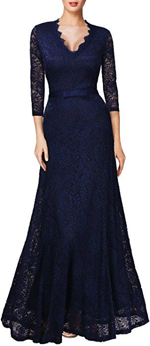 e614e3c70 Miusol Vintage Encaje Floral Fiesta Vestido Lungo para Mujer Azul Medium   Amazon.es  Ropa y accesorios