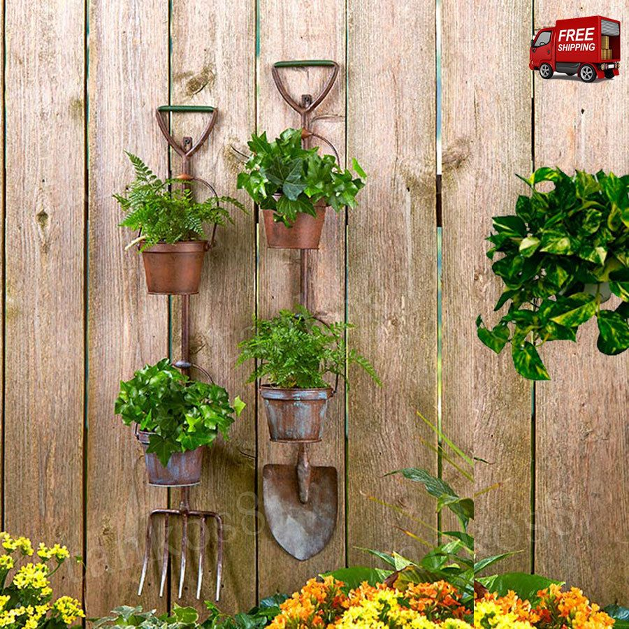 country garden rustic planters metal rustic tool decor shovel