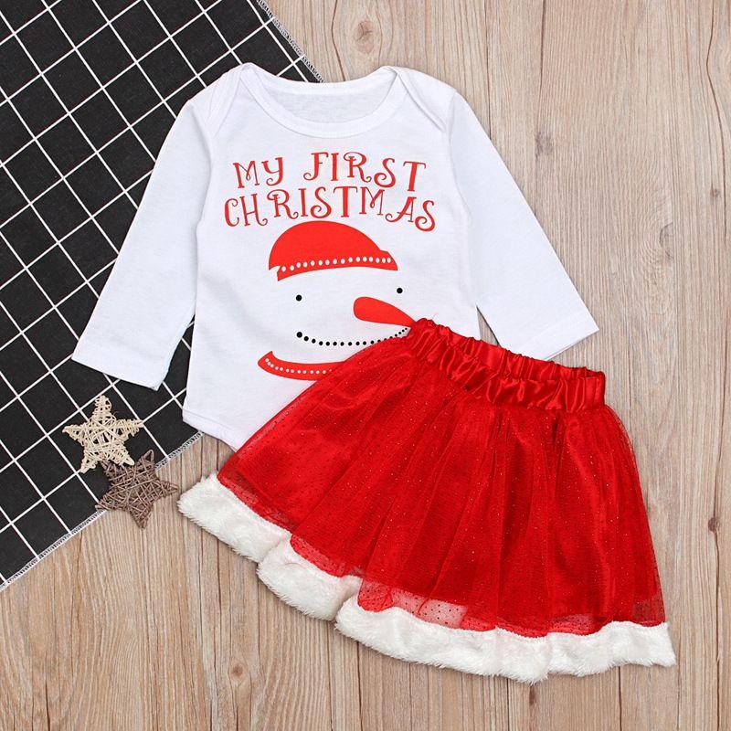 923bb7f59 Christmas Newborn clothing set Baby Girl Long Sleeve Cotton letter ...