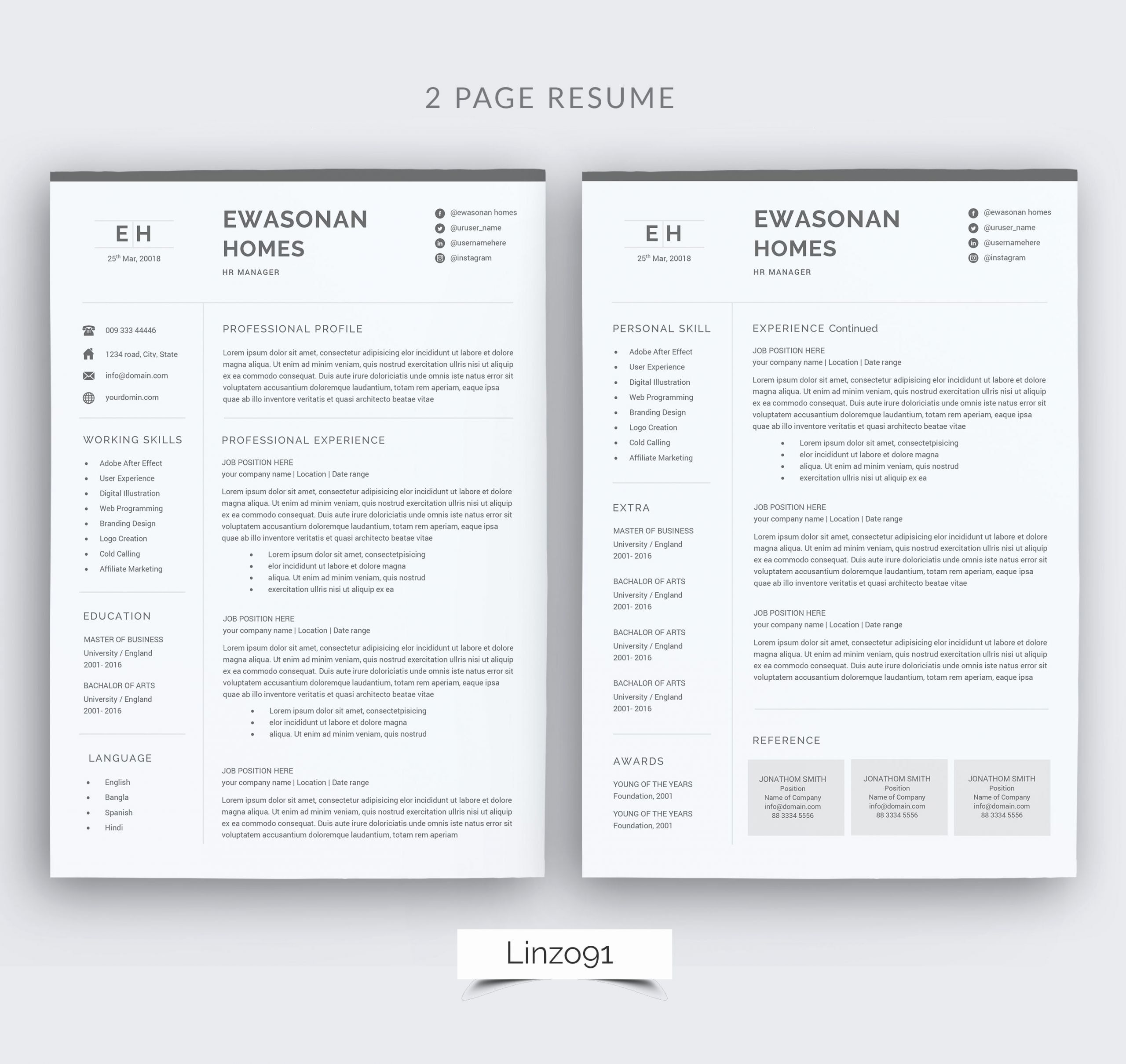 2 Page Resume Format Awesome Minimal Resume 3 Pages Cv Template For Word Two Page Cover Letter For Resume Resume Design Template Cover Page Template Word