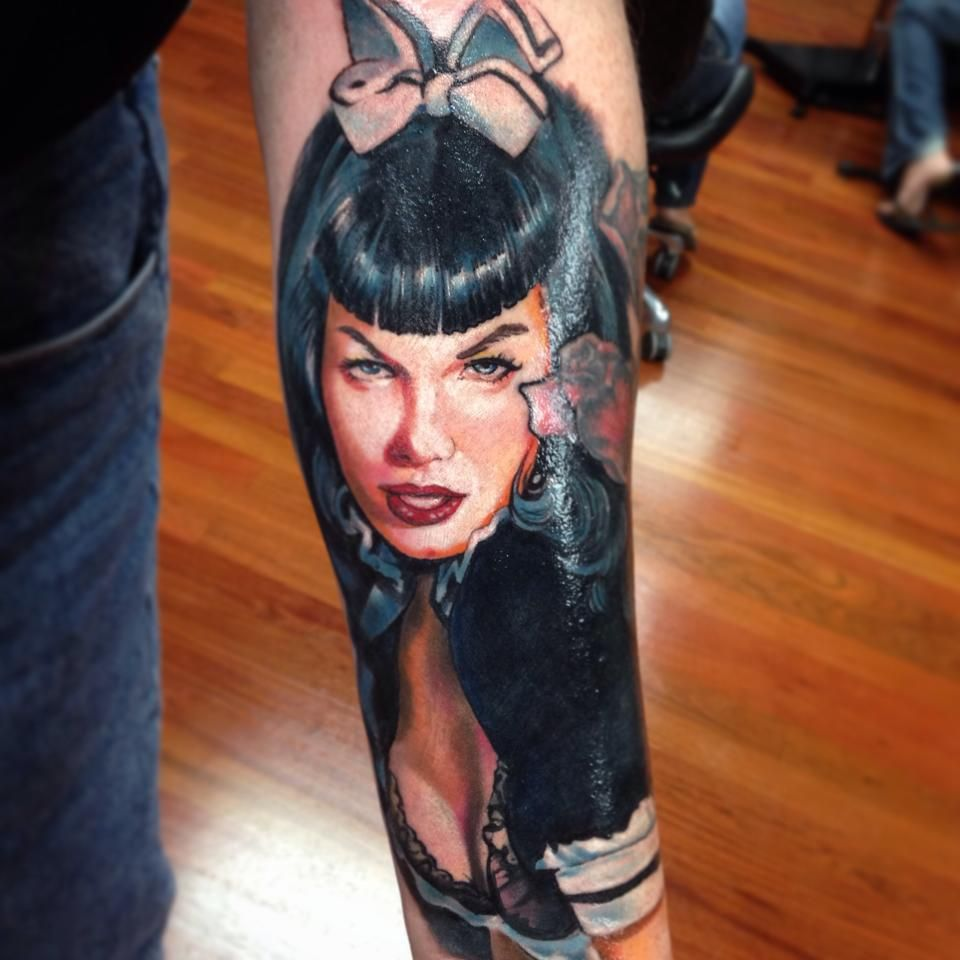 Bettie page portrait tattoo by pony lawson at mayday