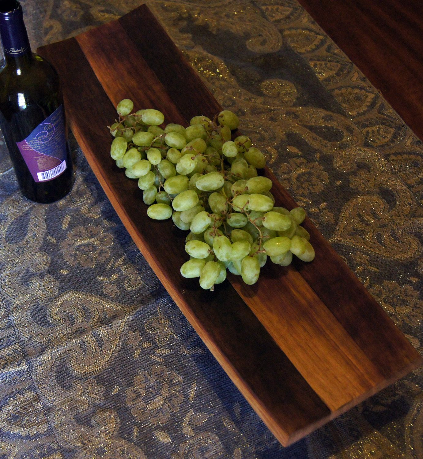 Natural Wine Stained Wine Barrel Stave Serving Tray  Wide