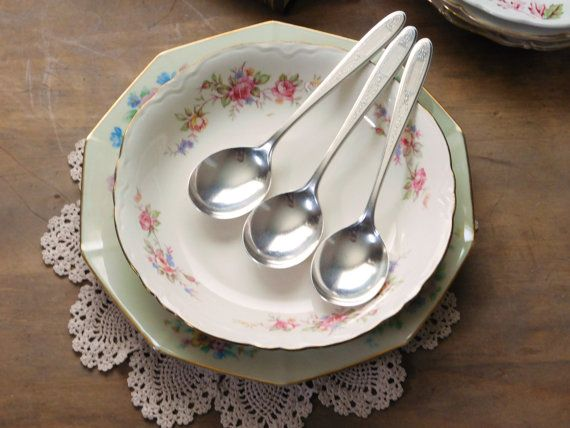 Silver Plate Soup Spoons Set of 3 Grosvenor by LittleDixieVintage