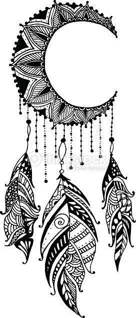 clipart vectoriel dessin la main porte bonheur indien mandala lune avec plumes tribal. Black Bedroom Furniture Sets. Home Design Ideas