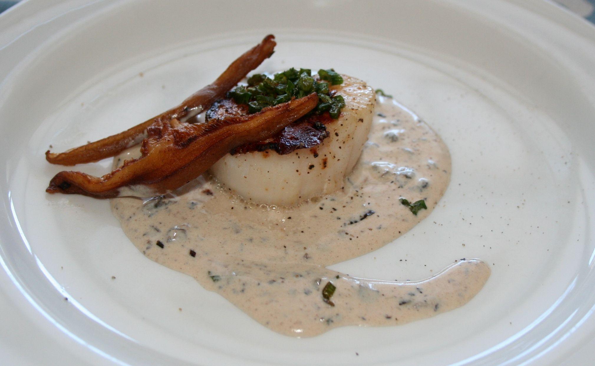 Sambuca seared scallops with shiitake truffle cream recipe sambuca seared scallops with shiitake truffle cream recipe on forumfinder Images