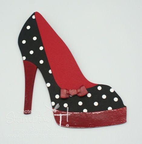 Stampin Up Stamping T High Heel Shoe Card Polka Dot Version Shoe Template Shoe Pattern High Heel Shoes