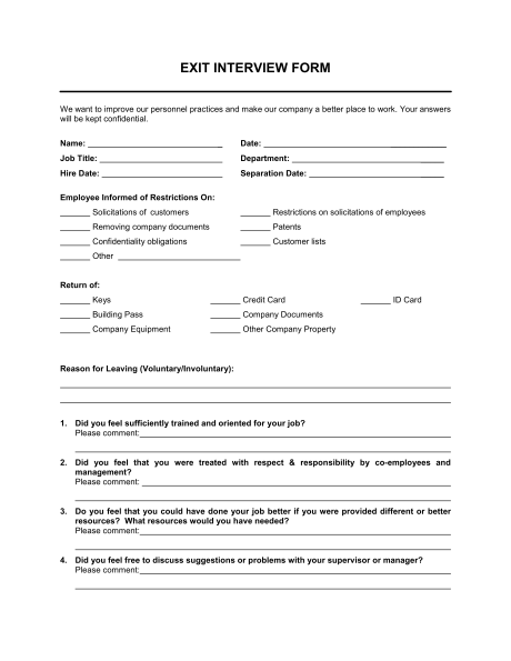 Intern Exit Interview Template from i.pinimg.com