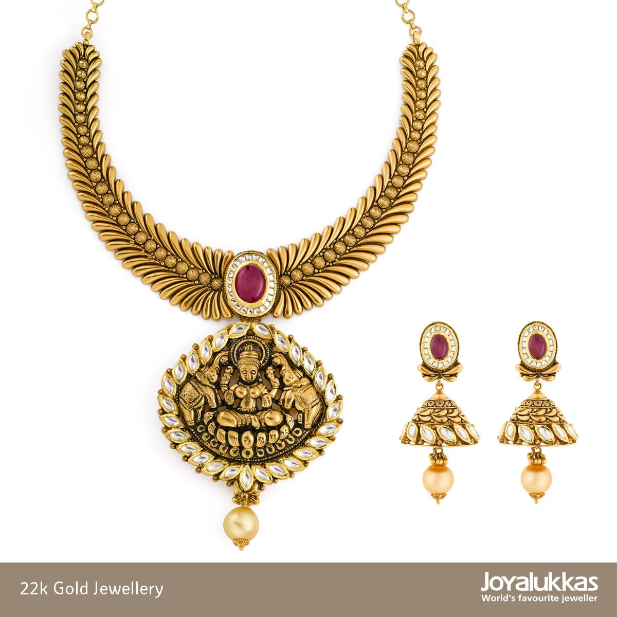22k Gold, antique finish temple necklace set. | Joyalukkas ...