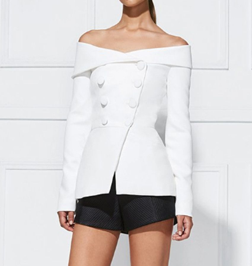 c1db1aa46b9b Sama White Off The Shoulder Blazer | Clothes! | Off the shoulder ...