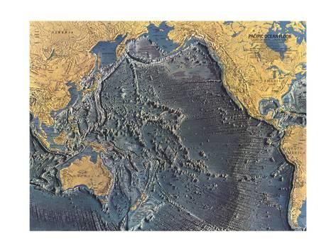 Pacific Ocean Topographic Map.1969 Pacific Ocean Floor Mapby National Geographic Maps Products