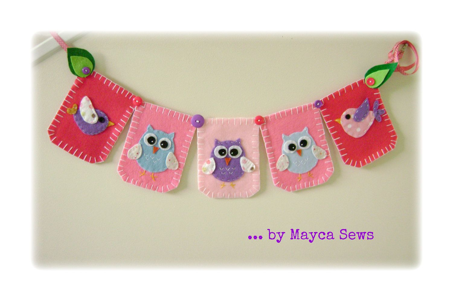 Owl Bunting. Nursery Art. Baby Shower. Felt. Reusable. Photo prop. Made to order item.. $28.00, via Etsy.