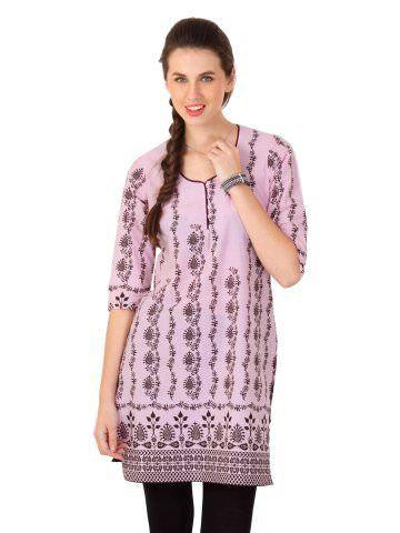 Vishudh Women Pink Printed Kurta | Myntra via @myntra