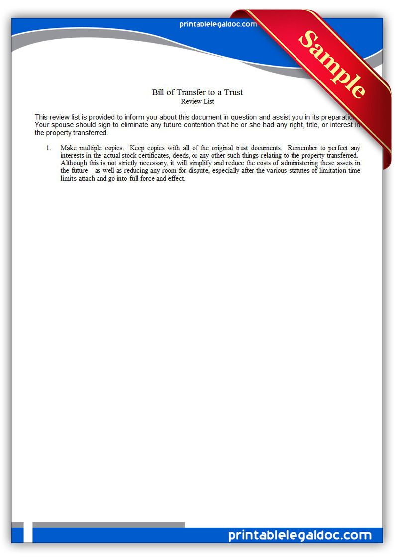 Bill Of Transfer To A Trust Legal Forms Free Printable Letters Power Of Attorney