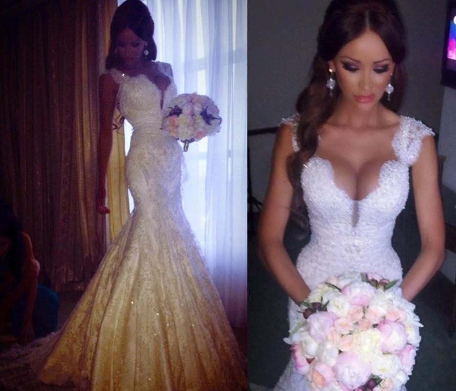 Newest Vestido De Noiva Mermaid Lace Wedding Dresses Short Cap ...