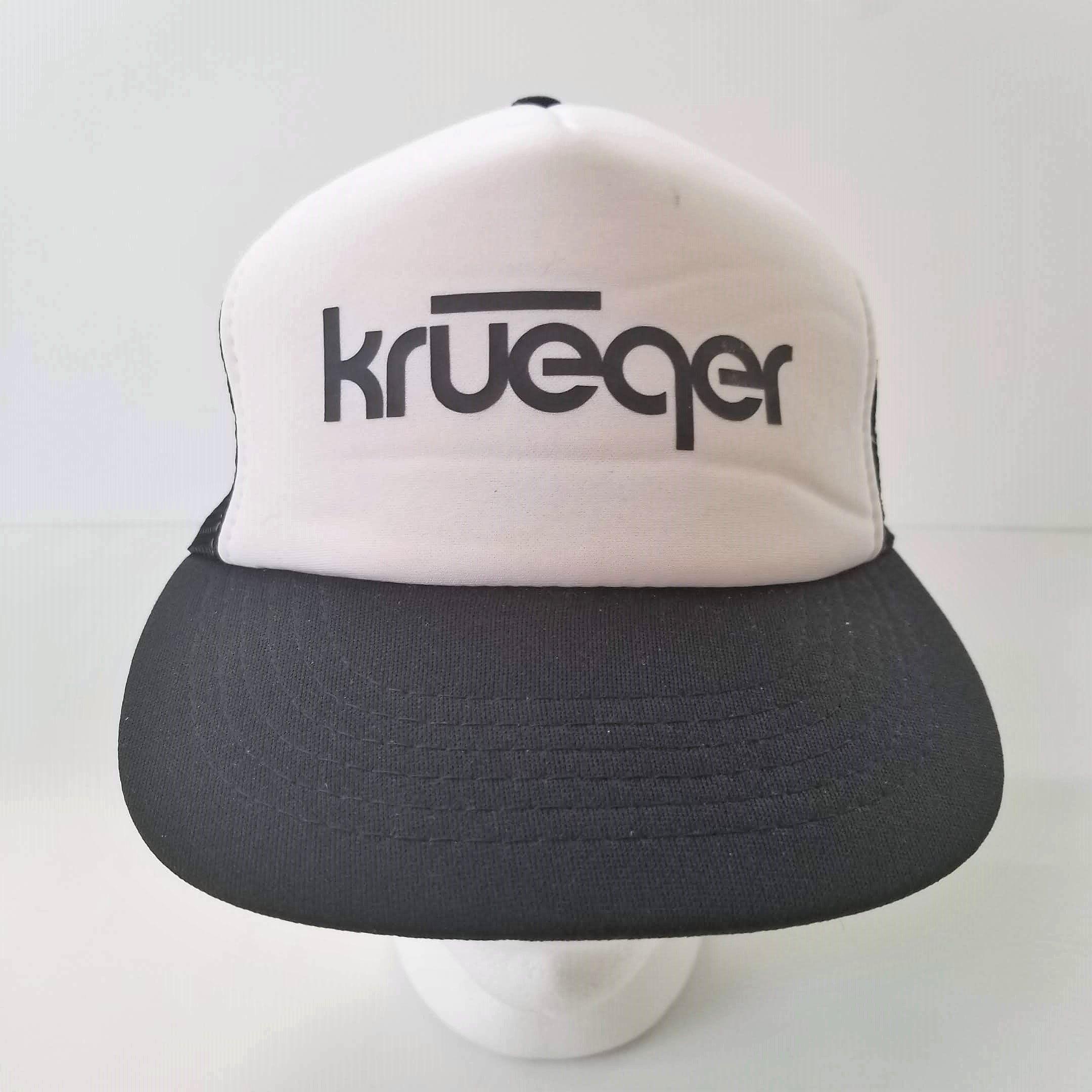 Vintage Krueger Trucker Hat Mesh Snapback Black White 80s Ball Cap Logo By Trasheewomen On Etsy Krueger Trucker Truckerhat Snap Hats For Sale Cap Logo Hats