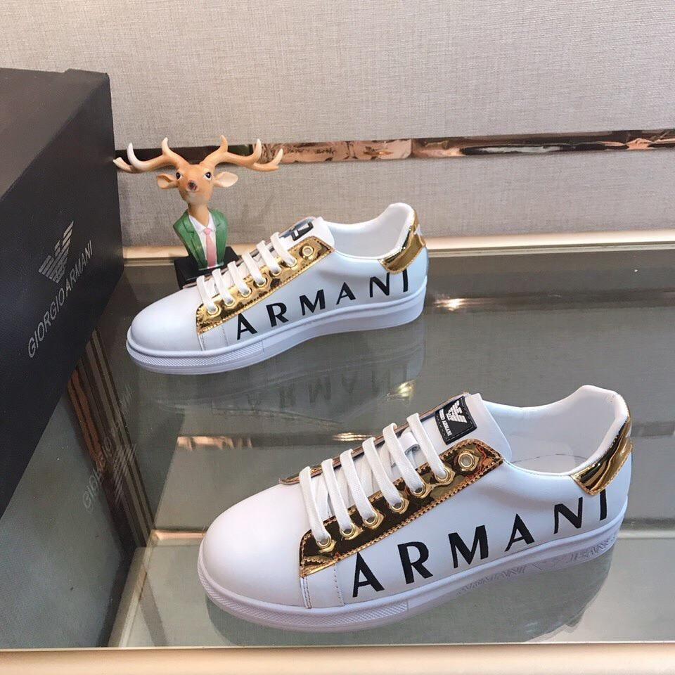 Armani casual running/walking shoes -classics white/gold 15