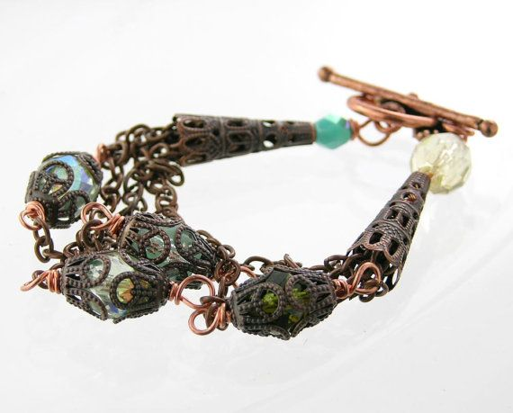 bracelet antique copper chain czech glass by PiaBarileJewelry