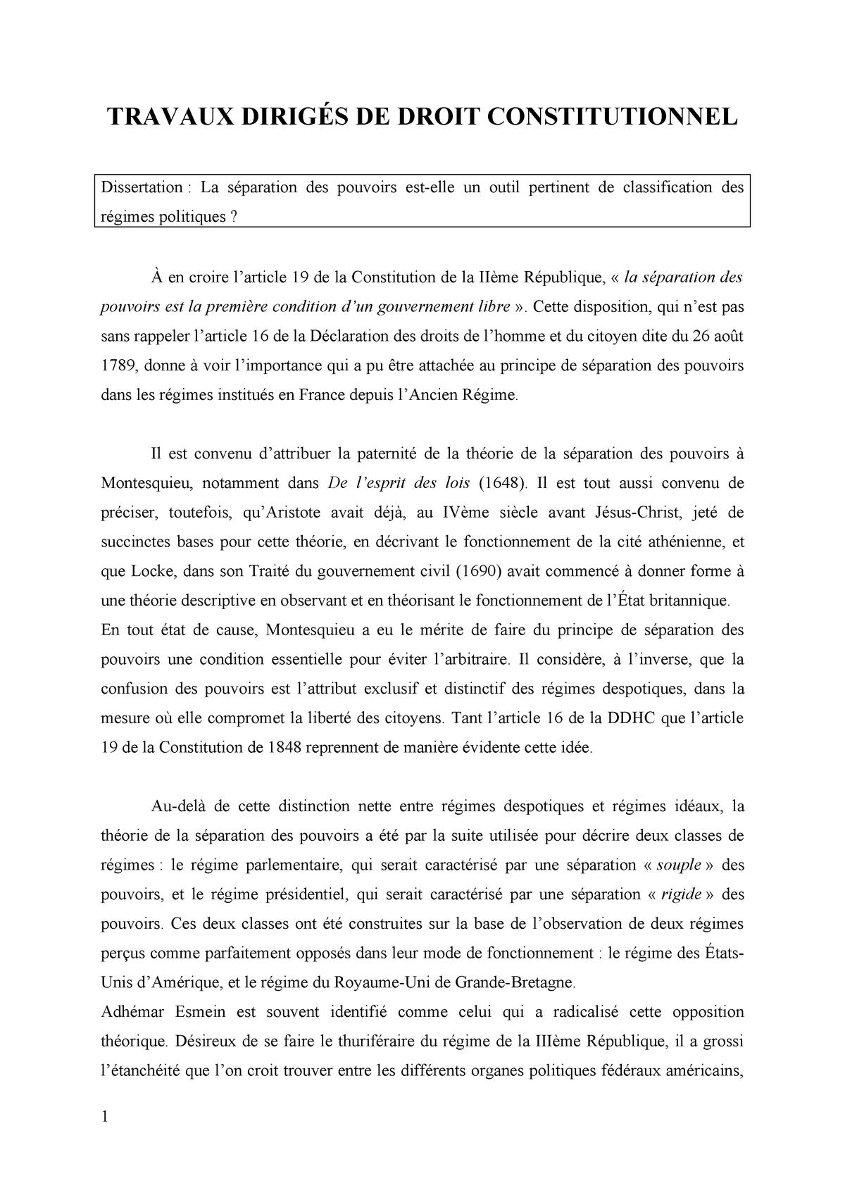 Dissertation La Separation De Pouvoir Est Elle Un Outil Pertinent Classification Regime Studo Cour Droit Constitutionnel