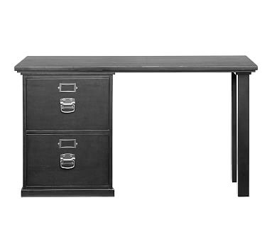 Bedford Small Desk Set 1 Desktop 2 Drawer File Pedestal Black
