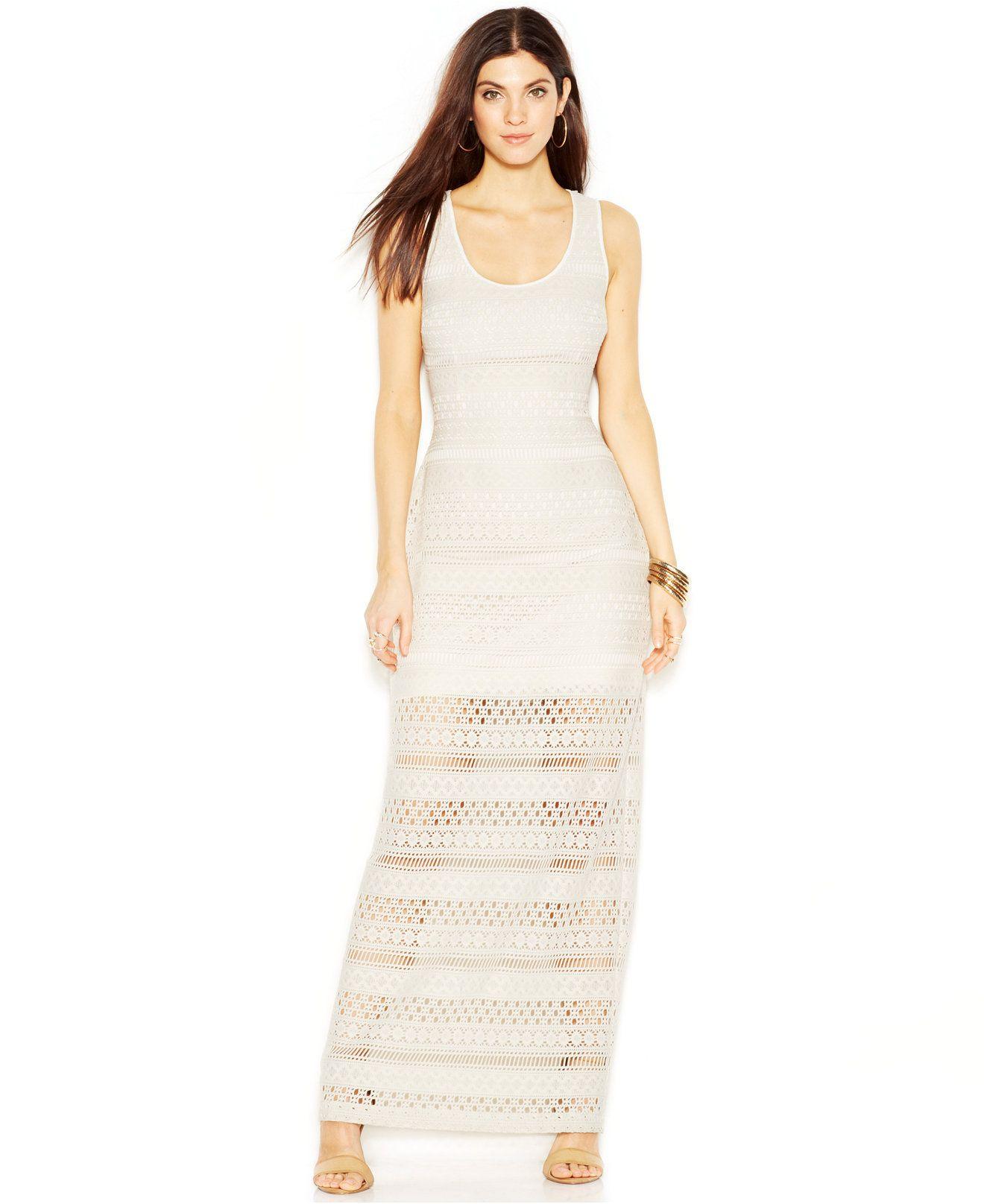 48615f519e73 GUESS Sheer-Panel Crochet Maxi Dress - Maxi Dresses - Women - Macy's ...