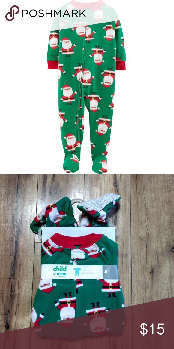7aa7ba5822a6 Boys Green Christmas Santa Footed Fleece Pajamas New with tags 12 ...