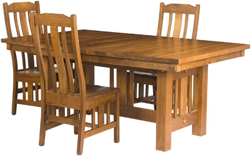 60 X 42 Mission Dining Table, Plains Mission Dining Chairs, In Rustic Oak  From