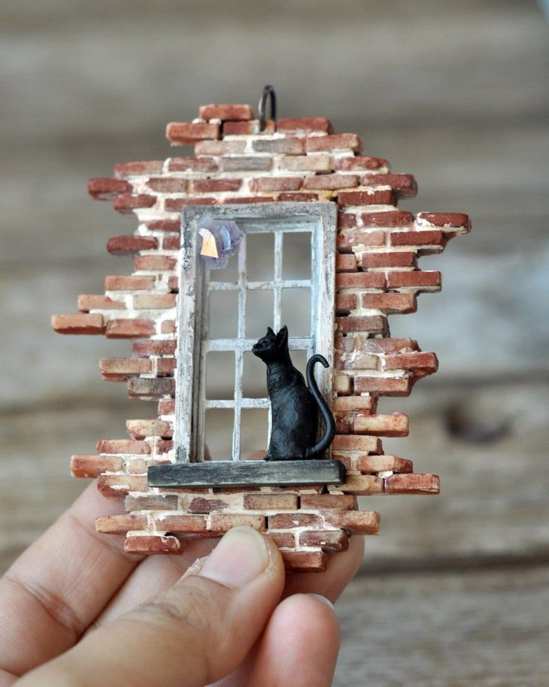 Old Brick Wall and Cat Pendant, Old Window Pendant