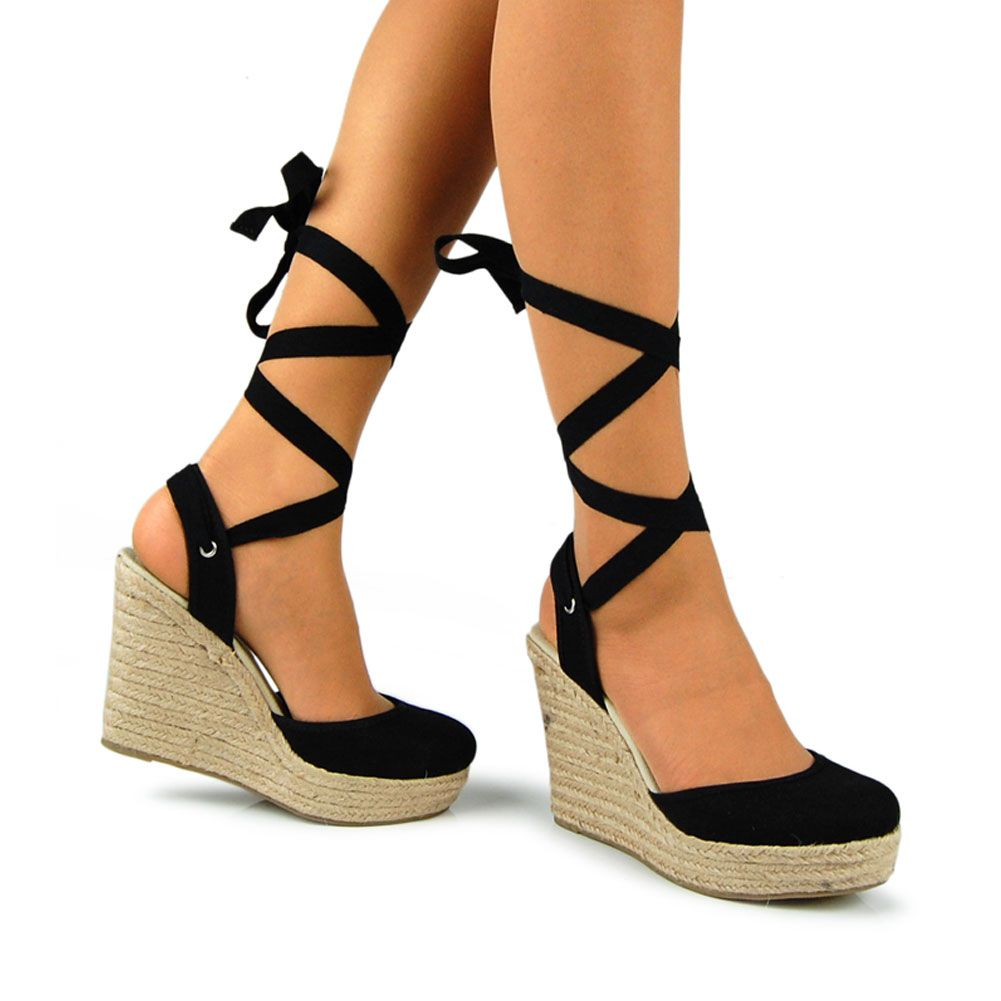Tie Up Espadrille Wedge Platform Sandal Black $23.99