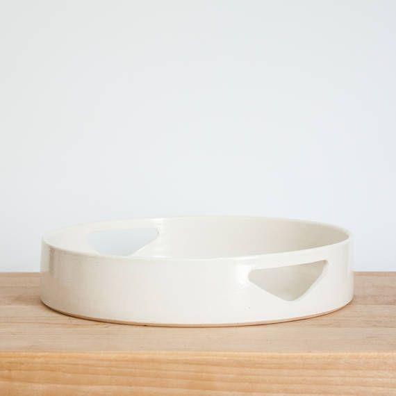 Modern Round White 9 Ceramic Tray By Barombi Studios