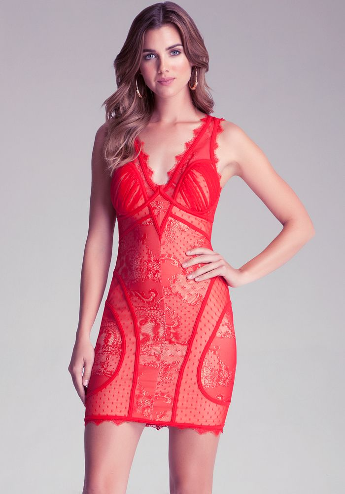 V Neck Lace Dress TRUE RED