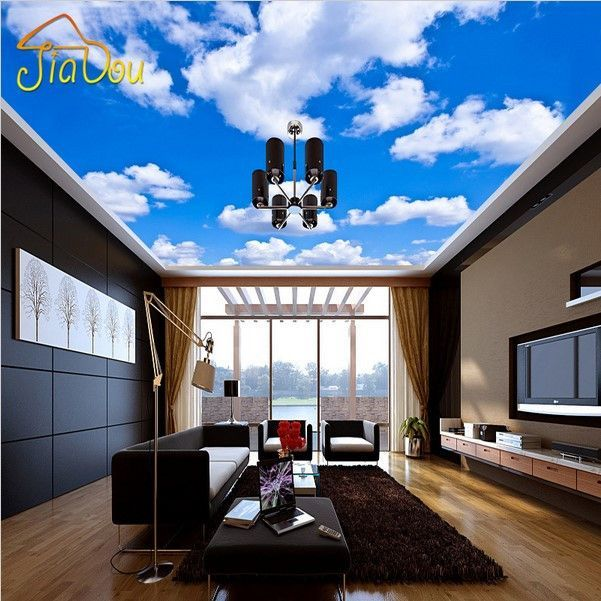 Custom Blue Sky With White Clouds Ceiling Wallpaper Mural ...