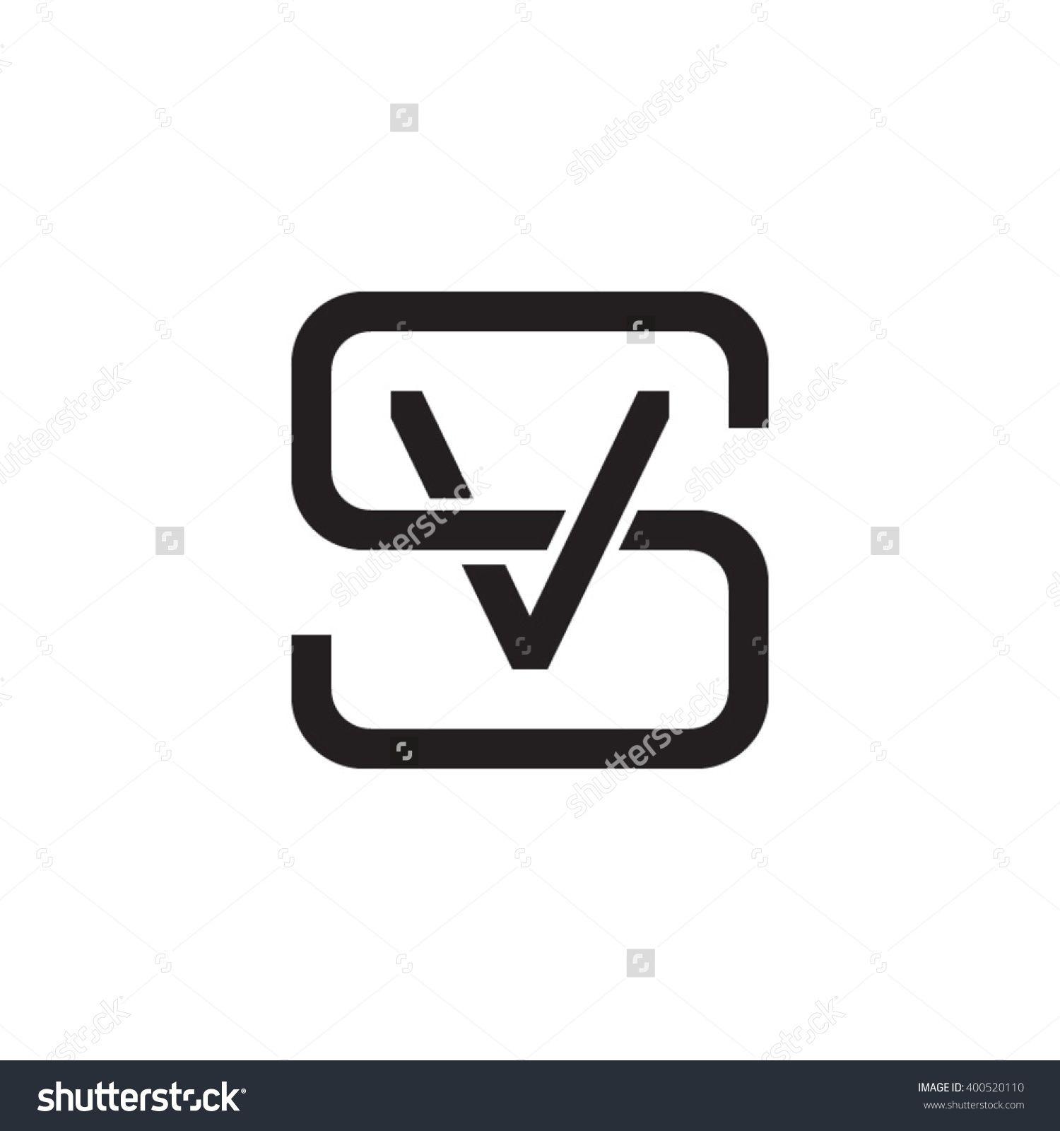 letter S and V monogram square shape logo black