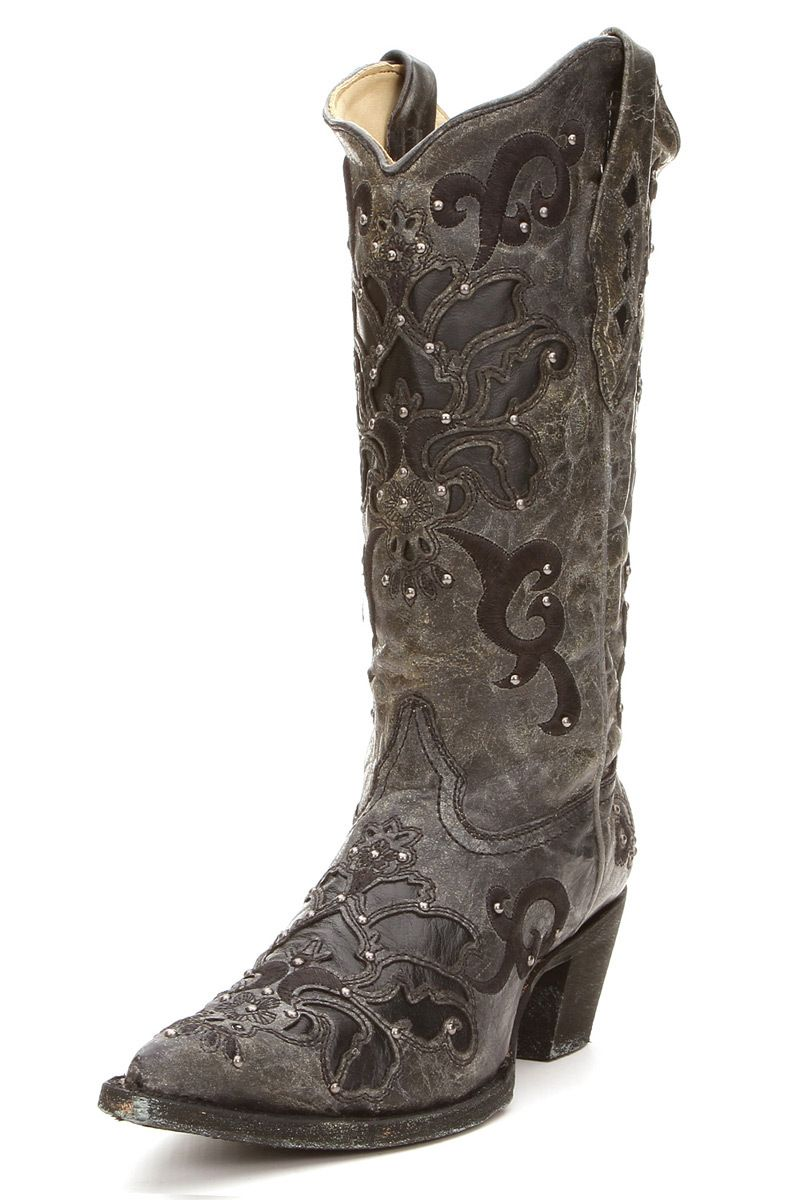 Corral Boots Black Crater Inlay Cowgirl Boots LOVE LOVE LOVE