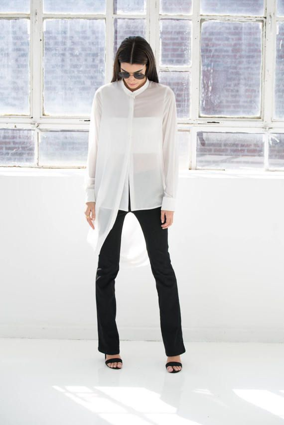 NEW Long Chiffon Shirt / Long Tunic / Long Sleeve by marcellamoda