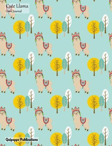 Cute Llama Lined Journal Medium Journaling Notebook Pattern JB85 Cover