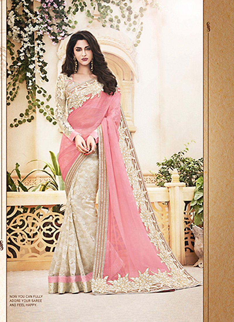 Wonderful Plain Pallu Saree in Mistyrose & Cosmic Latte Color ...
