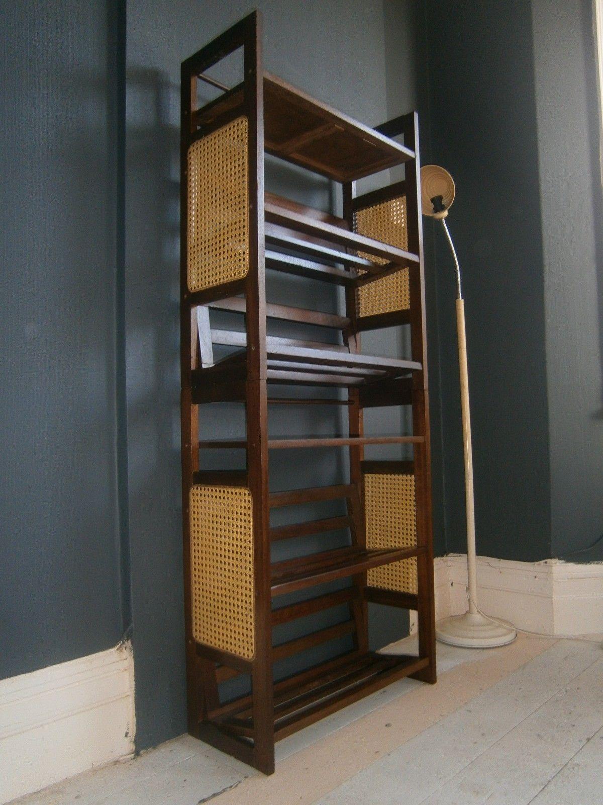 Vintage Retro Mid Century Bookshelves Stacking Bookcase Cane Inserts Slatted